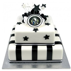 White and black cake with stars