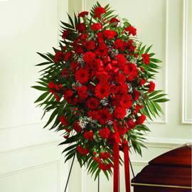 Memorial Spray of 100 Red Flowers