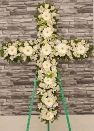 Սպիտակ Ծաղիկներով Խաչ Պսակ