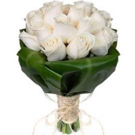 25 White Satin Roses Bouquet
