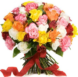 55 Colorful Roses Bouquet