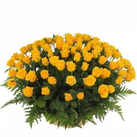 Basket with Yellow Roses