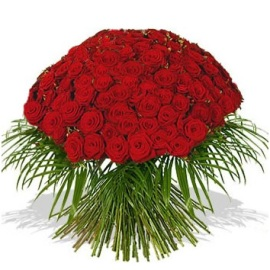Красные Розы с Ветвями Пальмы