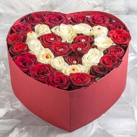With Love Red And White Roses Heart Box