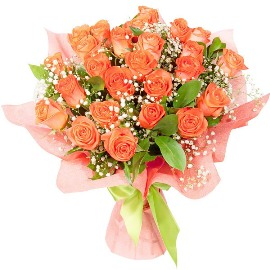 27 Hot Peach Roses Bouquet