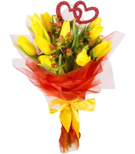 Bouquet of 17 Yellow Tulips