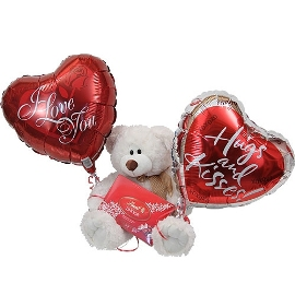 Bear with Chocolate & Balloons
