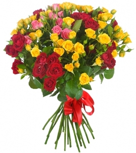 Bouquet of Colorful Roses (101 buds)