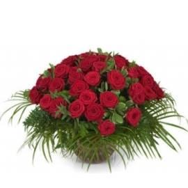 77 Red Blushing Roses in Basket