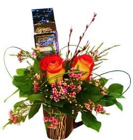 Coffee & Flower Arrangement