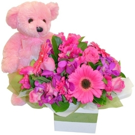 Pink Bouquet & Teddy Bear