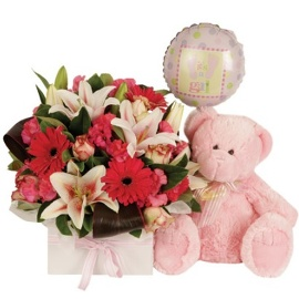 Pink Teddy Bear with Bouquet