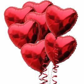 7 Красных Сердцевидных  Шаров