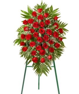 Funeral Wreath of 90 Red Roses