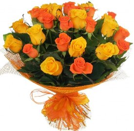 25 Yellow & Ornage Roses