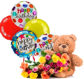 Lovely Bear with Roses & Balloons