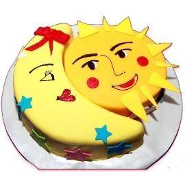 Smiling Moon & Sun Cake
