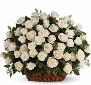 White Basket of 90 Roses