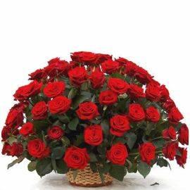 Sympathy Basket of 70 Red Roses