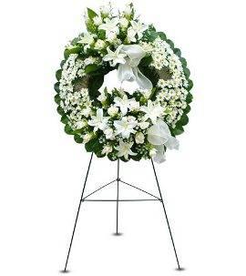 Sympathy Wreath in White