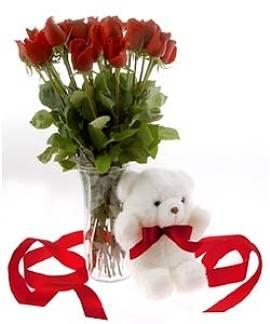 15 Red Roses & Teddy Bear