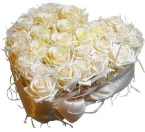 White Wedding Heart of Roses