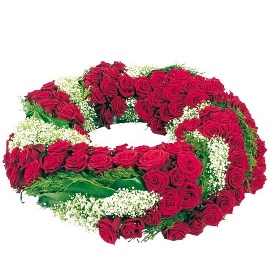 Wreath of 150 Red Roses