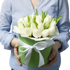 Elegant White Tulips Box